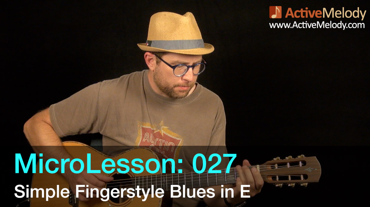 MicroLesson: 027 – Easy Fingerstyle Blues Guitar Lesson