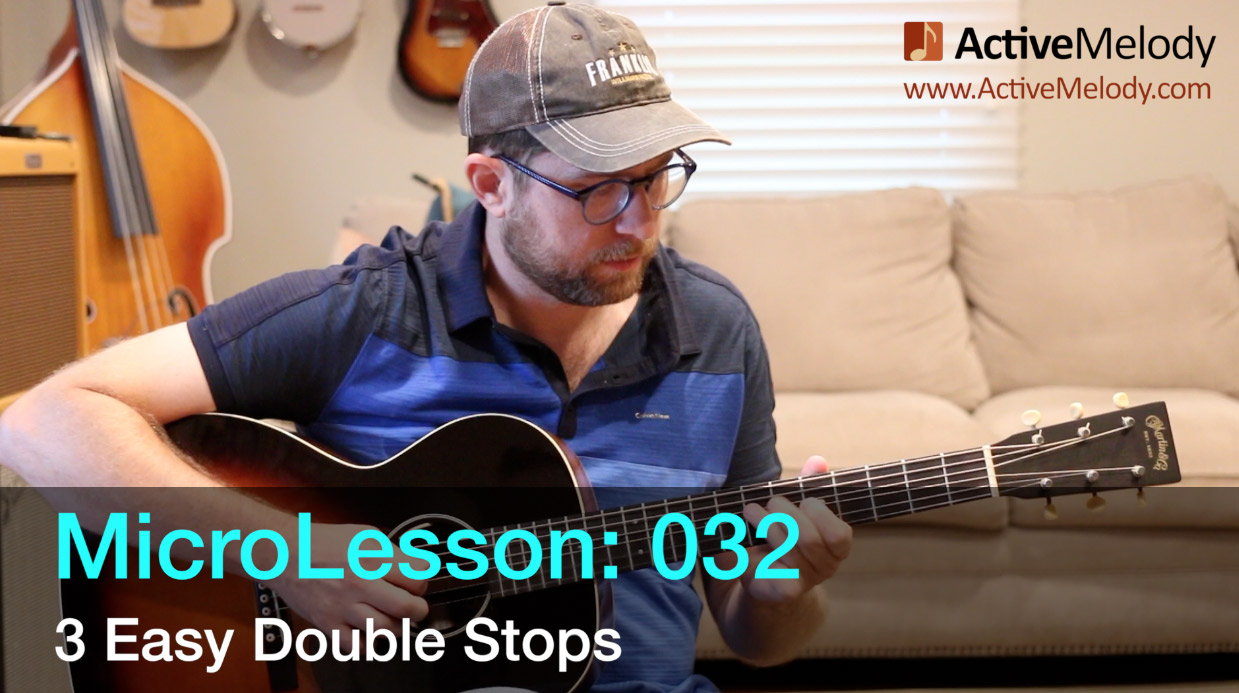 MicroLesson: 032 – Learn 3 Easy Double Stop Licks – 3 Essential Double Stops